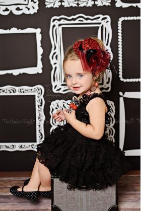 Red & Black Leopard Floral, Crystals & Veil Top Hat