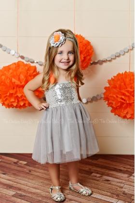 Silver Sequin & Orange Sequin Tulle Dress