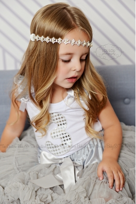 Silver Sparkle Birthday Pettiskirt Set Ages 1 2 3 4 5