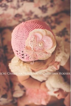 Pink Butterfly, Flower & Pearl Crochet Hat