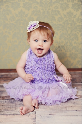 Lavender or Ivory  Ruffle Rosette Chiffon Petti Skirt Onesie