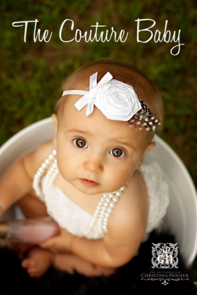 White Rose & Feather Accent Headband