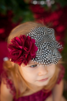 "Burgundy Satin & Tulle Accent Flower & Feather ""Holiday Princess"" Headband"