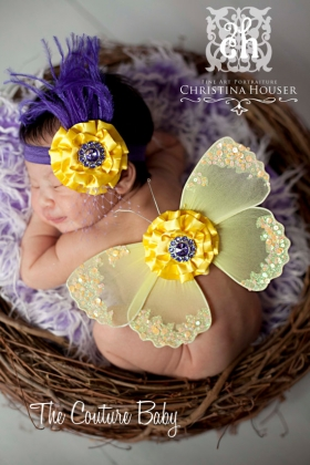 Sunny Yellow Butterfly Wings & Headband 2 pc Set