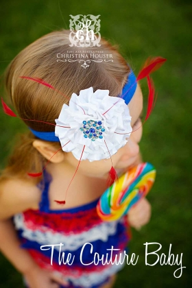 "Red White & Blue Patriotic ""Miss Fireworks"" Headband"