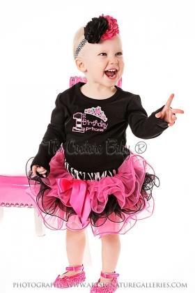 First Birthday Princess Zebra Ruffle Skirt Set