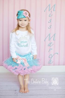 Miss Month Sparkle Crown Birthday Shirt