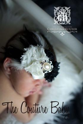 "Black & Cream Flower & Feather ""The Deville"" Headband"