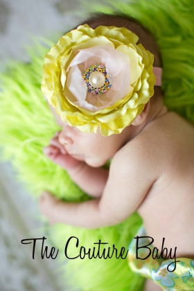 Lime Green & Pink Ranucilous La Bella Crystal & Pearl Headband