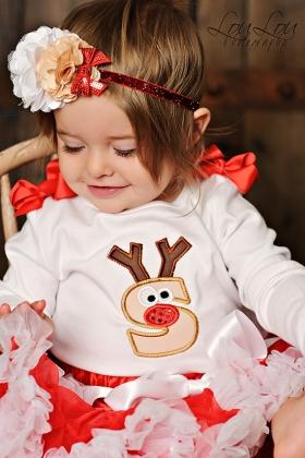 Rudolph Reindeer Personalized Initial Christmas Onesie or Top