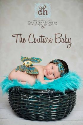 Golden Turquoise Newborn Baby Wings