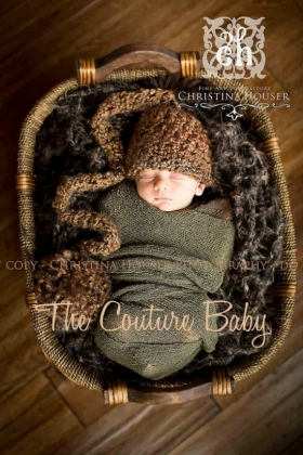 Brown Crochet Pom Pom Hat Newborn Boys Photo Prop