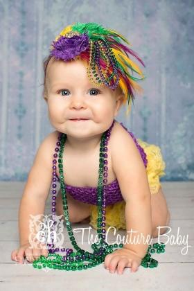 Mardi Gras Purple Green & Gold Feather & Bead Headband