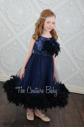 Navy Sparkle Feather Dress