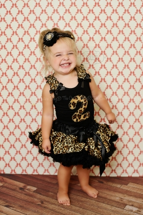 Leopard Cheetah Print Personalized Birthday Petti Skirt 2 Pc Set One Two Three