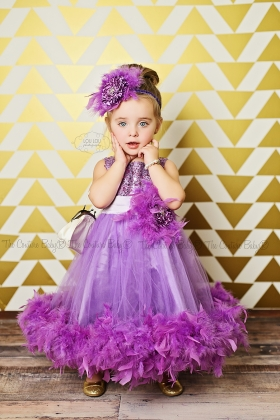 Purple Pizzaz Sparkle Feather Dress