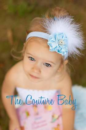 The Cinderella Blue & Marabou Feather Headband