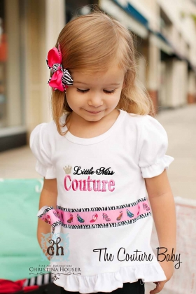 Embroidered Shirt with Phrase, Ribbon and Bow