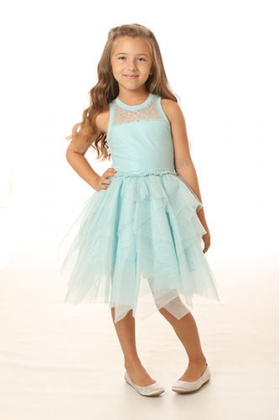 Blue Ice Tulle Necklace Dress