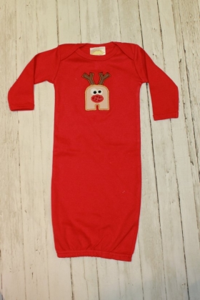 Layette Gown with Tan and Brown Fabric Applique and letter N and Reindeer Design