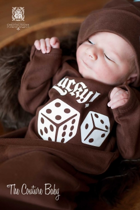 Lucky Dice Boys Brown Layette Gown & Hat Set