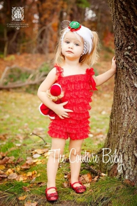 Red Lace Ruffled Petti Romper