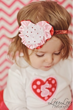 Red & White Heart Crystal Valentine's Day Crystal & Glitter Headband