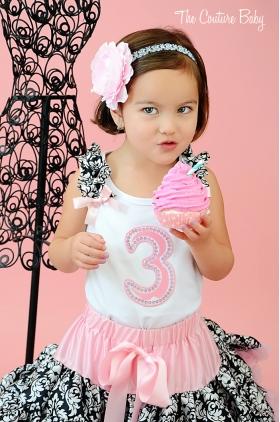 Damask Ruffle Birthday Pettiskirt Set Choice of Age