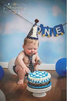Boy's 1st Birthday 3 pc Navy Plaid Cake Smash Set