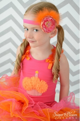 "Hot Pink & Orange Marabou ""Tropical Punch"" Headband"