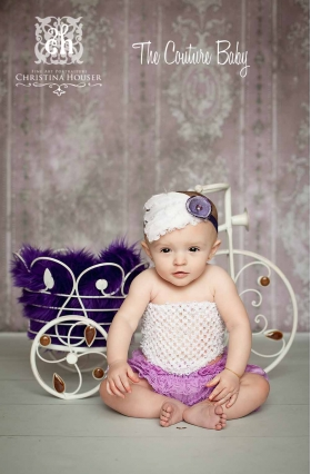 Lavender Frost Feather & Flower Headband