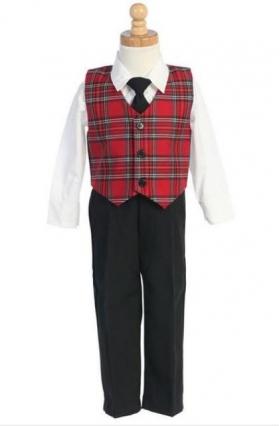 Infant & Toddler Boys Red Plaid Vest & Pants Holiday 4 pc Set