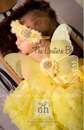 Yellow Lemon Drop Sequin Butterfly Wing & Headband 2 Pc Photo Prop Set