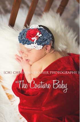 "Red & Blue Denim Flowers ""Little Bit of Country"" Headband"