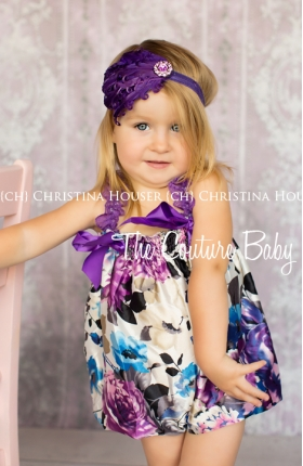 Plum Crazy Satin Floral Bubble Romper