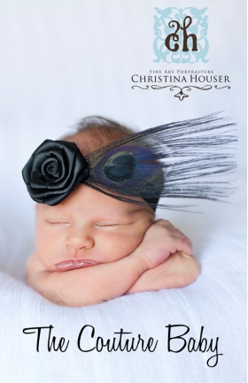 Black Rosette Peacock Feather Baby Headband
