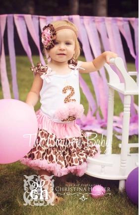 Pink Giraffe Age One Two or Three Cupcake Pink & Brown Birthday Petti Skirt Set