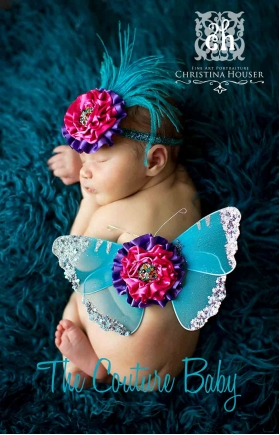 """Purple, Turquoise & Hot Pink """"Pop Of Color"""" Butterfly Wings & Headband  2 Piece Photo Prop Set"""