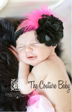 Hot Pink Marabou & Black Flower Ruffle Headband