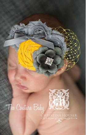 Silver Grey & Yellow Sunshine Glamour Veiled Headband