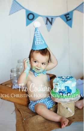 Blue & White Gingham Boys 3 Pc. Cake Smash Birthday Set