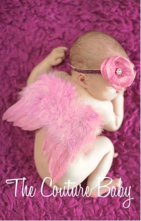 Dusty Rose Feather Newborn Angel Wings