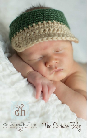 """Mr. Preppy"" News Boy Cap Green & Khaki Hand Crochet Infant Hat Photo Prop"