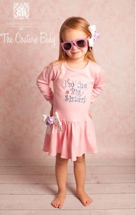 """""""I'm the Big Sister"""" Pink & Lavender Embroidered  Dress"""