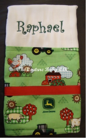 Your Own Burp Cloth with Farm Fabirc Design, Ribbon and Embroidered Name