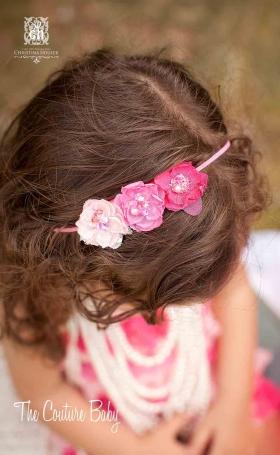 Triple Pink Mini Flower & Sequin Headband