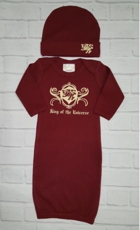 """""""King Of The Universe """"Boy's Burgundy Layette Gown & Hat Set"""