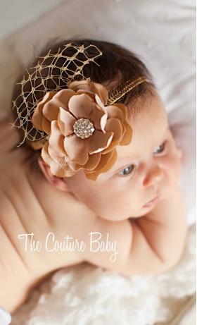 Golden Tan Flower & Crystal Photo Prop Bloomer & Headband Set