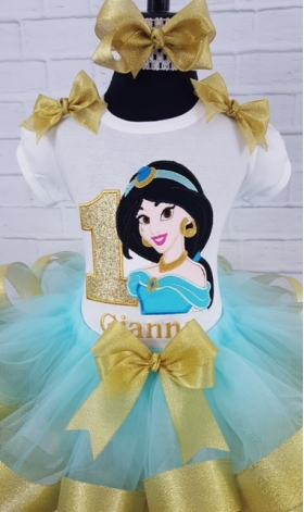 Princess Jasmine Personalized Aqua & Gold Shirt Or Onesie 1st 2nd 3rd 4th 5th 6th birthday shirt