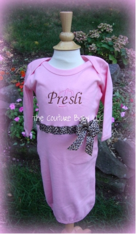 Personalized Layette Gown with Ribbon & Bow Trim